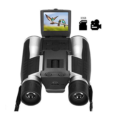 "2"" LCD Digital Binoculars with Camera for Adults, 12x32 5MP Video Photo Recoder with 32GB Memory Card for Bird Watching Hunting Concerts and Sports Games"