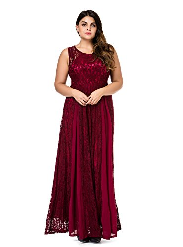 Esprlia Women's Plus Size Lace Sleeveless Evening Party Formal Maxi Dress - 2X Plus - Wine