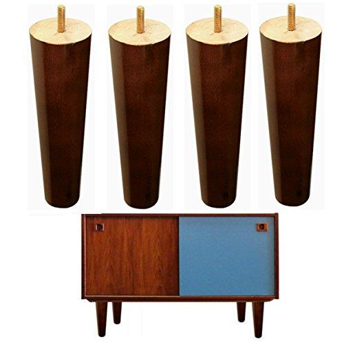 4x Holz Möbel Beine IKEA Couch Füße Ersatz Walnuss Finish Rund 20,3cm für Couch Bench footrstool Schrank Bett Riser M8Bolzen