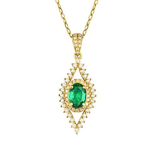 Bishilin Colgante Collar Oro 750, Geometría Hueca Y Ovalada Esmeralda de 0.62ct con Diamantes de 0.39ct Collares Pendientes Collares Pendientes para Mujeres Niñas para Cumpleaños Navidad
