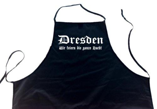 ShirtShop-Saar Dresden - Wir feiern die ganze Nacht; Schürze (Latzschürze - Städte, Grillen, Kochen, Berufsbekleidung, Kochschürze), schwarz