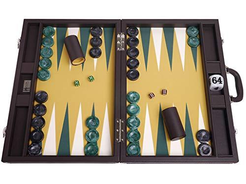 Wycliffe Brothers Backgammon-Set für Turniere, Brown-Fall mit Senffeld, Masters Edition