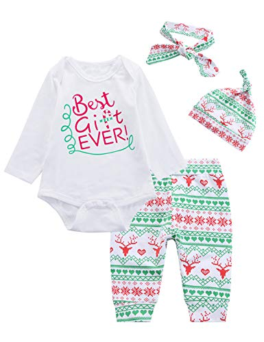 4PCS Christmas Baby Boys Girls Outfit Set Xmas Long Sleeve Romper (3-6 Months)