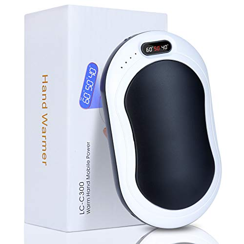 Sinwind Scaldamani Ricaricabile USB, 10003mAH Portatile Power Bank Scaldamani, Riutilizzabile Riscaldatore Elettrico Tascabile per Sci, Campeggio, Escursionismo, Regali e Molto Altro(Nero)