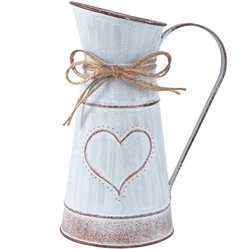 Vaso di fiori vintage Brocca di latta Brocca Decorazioni per la casa di nozze in metallo, cuore stile vintage francese Vaso da fiori rustico in stile rustico Annaffiatoio Secchio di latta Vaso