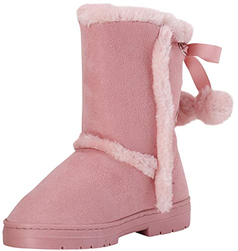 bebe Girls Fur Trimming Winter Boots with Back Lace Up (Toddler/Little Girl/Big Girl), Size 2 Little Kid, Blush