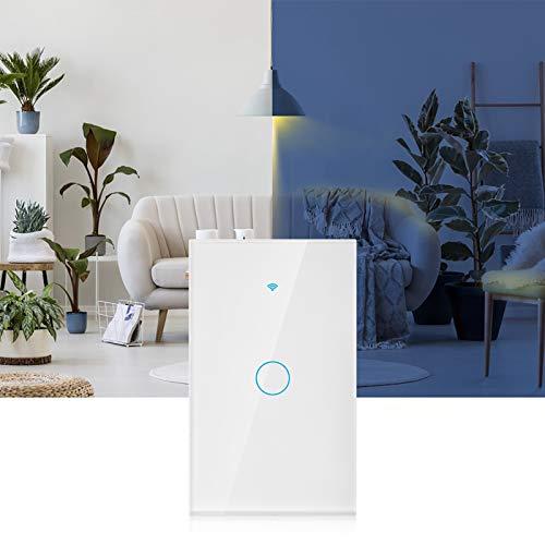 Panel de interruptores WiFi, Funciona con Alexa y Google Assistant Teclas táctiles Altamente sensibles Interruptor Inteligente de 2.4Ghz, para(Black, U.S. regulations)