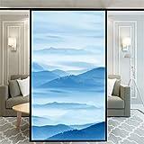 Xijier Película de privacidad para ventana, pintura de paisaje, decorativa, opaca, no adhesiva, estática, para ventana de vidrio esmerilado, pegatinas de ventana para casa, oficina, 55 x 160 cm