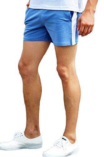 sandbank Men Summer Cotton Fitted Jogger Running Gym Workout Shorts with Pockets (Waistline : 31-32 inch, Blue #2)