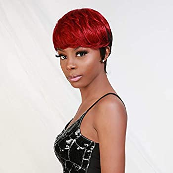 Instant Fab Short Human Hair Wigs Pixie Cut Wigs for Black Women Short Pixie Hairstyles Layered Wavy Tapered Back Non Lace Front Wigs - TOPAZ  DL1B/BURG