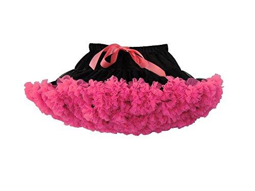 Elfin-Lore Mujeres Falda Tutú Princesa de Tul Ballet Danza Enaguas Carnaval Boda Disfraces Negro/Rose - XL