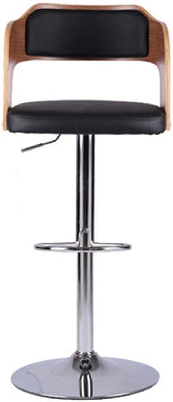 LJFYXZ redating Bar Chair, Chair Lift Solid Wood Back High Stool 95x45cm (color   Black)