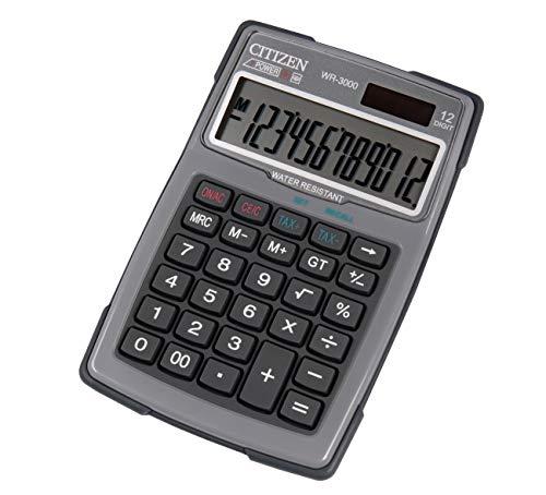 Scopri offerta per Citizen Calcolatrice da tavolo Outdoor 3000, impermeabile, a energia solare e a batteria, 12 cifre, memoria a 3 tasti, colore: grigio