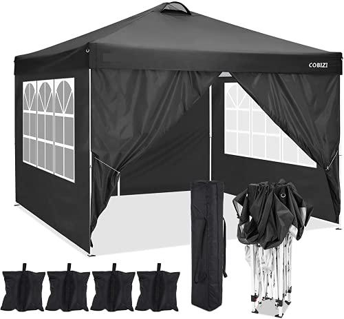 COBIZI 3x3m Tonnelle de Jardin Tonnelle Pliante imperméable Tente Reception (Noir, 3x3M +4 côtés +4 Sacs de Poids)