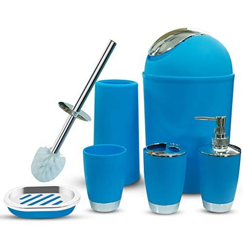 CNKOBE 6 Pcs Plastic Bathroom Accessory Set Luxury Bath Accessories Bath Set Lotion Bottles, Toothbrush Holder, Tooth Mug, Soap Dish, Toilet Brush, Trash Can, Rubbish Bin (Blue)
