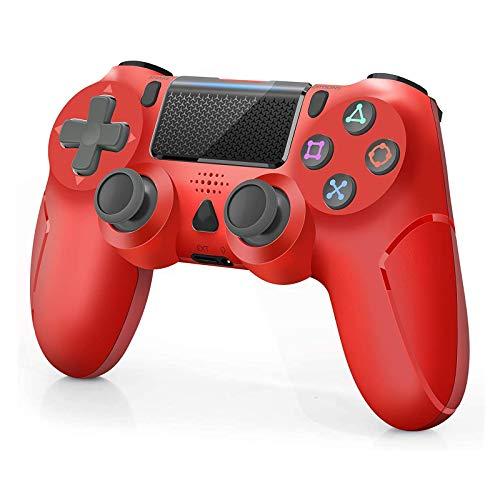 Manette sans Fil pour PS-4 Manette Gamepad pour PS-4/ PS-4 Slim/PS-4 Pro Console avec Double Vibration Moteur, Rouge