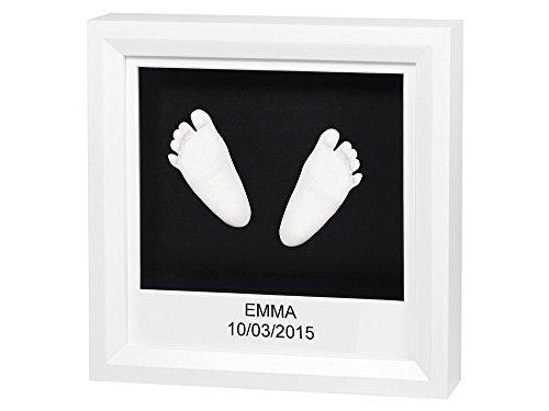 Baby Art - diepe fotolijst of podium, incl. 3D gipsafdruk set om zelf te maken, eenvoudig en snel, voor 3D handafdruk en voetafdruk van uw baby fotolijst zwart/wit