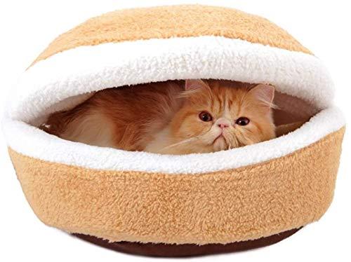 YAOSHUYANG Cama de felpa para mascotas para gatos y perros pequeños, con forma de hamburguesa, suave y cómoda, cama para perros con extraíble y lavable, M (tamaño: mediano)