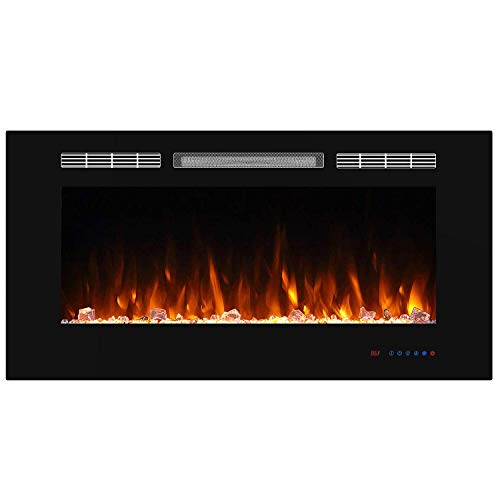 Valuxhome 42 Inches Electric Fireplace Recessed Fireplace Heater 1500W with Remote Control, Timer, Thermostat, Crystal and Logset, Black black electric Fireplace