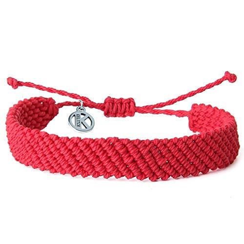 KELITCH Handgefertigt Makramee Farbe Süßigkeiten Breit Böhmen Gewebt Freundschaft Armband Mode Neu Schmuck (Rot 4D)