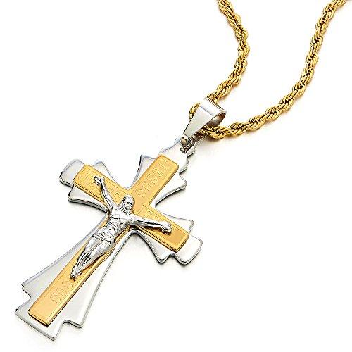 COOLSTEELANDBEYOND Tres Capas Crucifijo Cruz, Collar con Colgante de Hombre, Cruce, Acero...