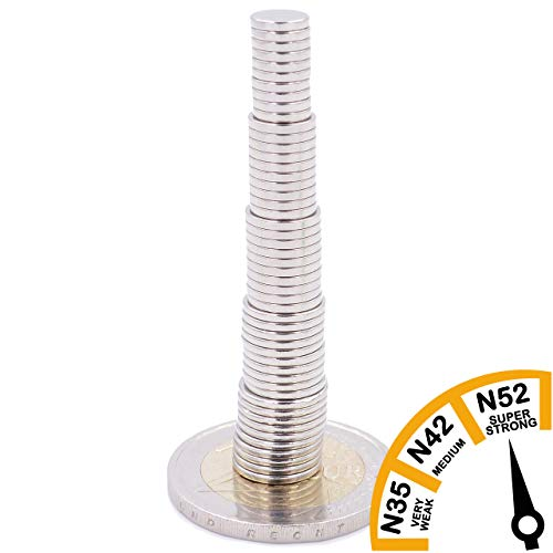 Brudazon | 75 mini schijfmagneten set 6x1 mm + 7x1 mm + 8x1 mm + 9x1 mm + 10x1 mm | N52 neodymium magneten ultrasterk | Power magneet voor modelbouw, knutselen | magnetische schijf extra sterk