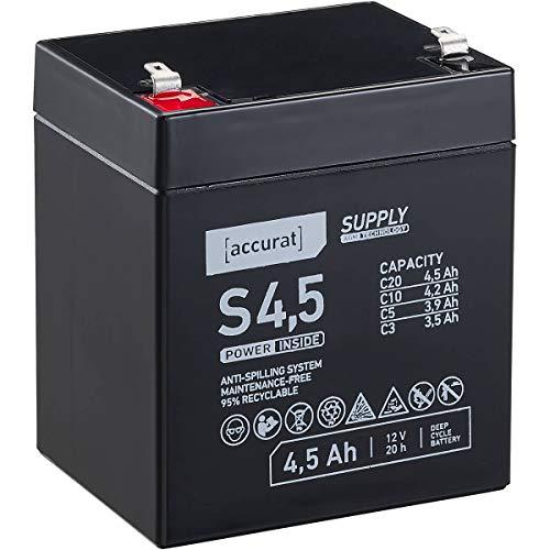 Accurat 12V 4,5Ah Blei-Akku AGM Blei-Batterie Zyklenfest Supply-Serie VRLA Versorgungsbatterie S4,5 (wartungsfrei)