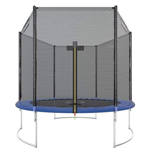 Trampolin.one by Ultrasport Trampoline de jardin Starter, trampoline pour enfant, set complet avec tapis de saut, filet de sécurité et revêtement pour les bords, Bleu, 244 cm