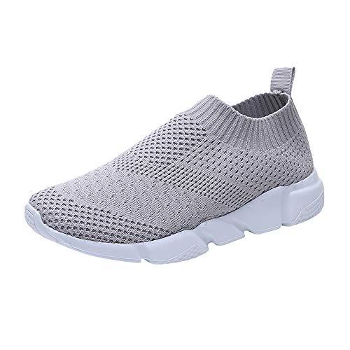 Chaussure De Sport Femme Pas Cher A La Mode Basket Mode Air Running Course Chaussures sans Lacet Ete Outdoor Casual Mesh Respirant Confort Sneakers (Gris, Numeric_37)