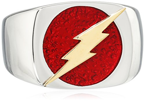 DC Comics - Anello in acciaio inossidabile a forma di dado, con il simbolo di Flash, da uomo, Acciaio inossidabile, Lightning Bolt, 14