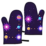 Pac-Man Microwave Gloves Kitchen Oven Mitts Hanging Use for Baking,Frying,BBQ,Non-Slip Heat Resistant Fashion Washable Cooking Gloves (1 Pair)