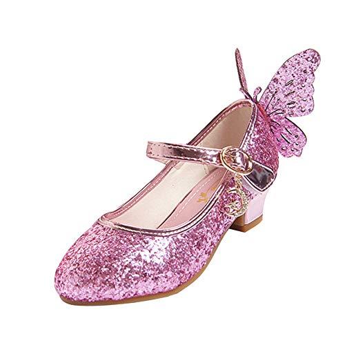 LSHEL Mädchen Schuhe Neue Pailletten Prinzessin High Heels Kinderschuhe Tanzschuhe mit Schmetterling, Rosa, 27 EU(Innere länge 18.3cm)
