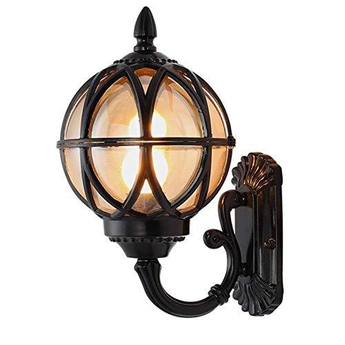 Lámpara de Pared Para Exteriores Luz de pared exterior - creativo Shade bola aplique, montado en la pared externa accesorio de iluminación for el balcón pasillo de entrada, Negro (Size : 21.5x38cm)
