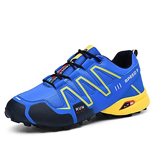 CHUIKUAJ Calzado de Ciclismo para Hombre Calzado de Ciclismo Indoor Sin Candado,Zapatos de Ciclismo de Bicicleta de Montaña Impermeables,Blue-44EU