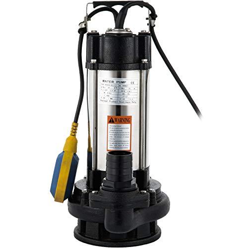 VEVOR Pompa per Acque Reflue 2,2 kW, Pompa Sommergibile per Pompa per Acque Reflue 800 LPM, Pompa Sommergibile per Pressione Corsa 26 m, Pompa per Acque Reflue, Portatile e Interruttore a Galleggiante