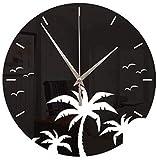 Silenciosa del Reloj de la Playa del árbol de Coco Reloj de Pared de Espejo Etiqueta Dormitorio Sala de decoración de Interior (sin batería) 30x30cm
