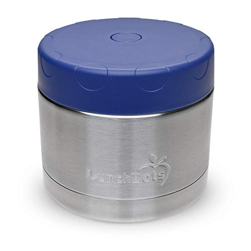 LunchBots 12oz Thermos Stainless Steel Wide Mouth  Insulated Container With Vented Lid  Keeps Food Hot or Cold for Hours  LeakProof Portable Thermal Food Jar is Ideal for Soup  12 ounce  Navy