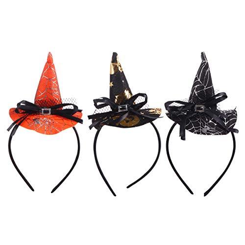 Lurrose 3 Unids Mini Sombrero Puntiagudo Venda de La Bruja Accesorios de Halloween Cosplay Party Props Decoración