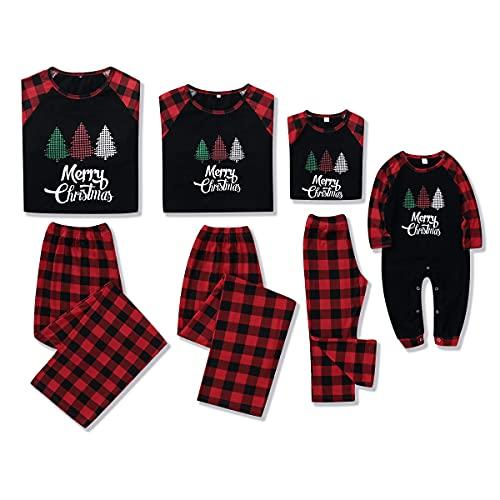 Amissz Familie Weihnachten Pyjamas Set, Schlafanzug Damen Herren Kiner Baby Lang Outfit, Jumpsuit Rotes Kariertes Nachtwäsche Overall Hausanzug für die Familien (Rot, Kinder:4-5 Jahre)