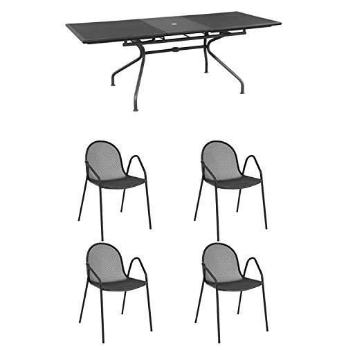 Emu Ensemble Table Athena Extensible 160/210 x 90 + 4 fauteuils Nova Fer Ancien