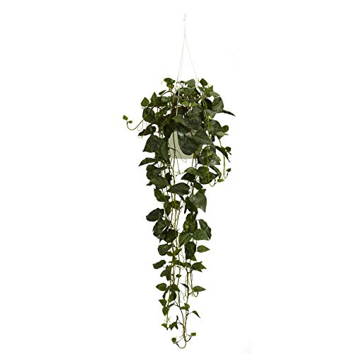 Nearly Natural 4762 44in. Philodendron Hanging Basket Silk Plant,Green,10.25' x 10.25' x 17.5'