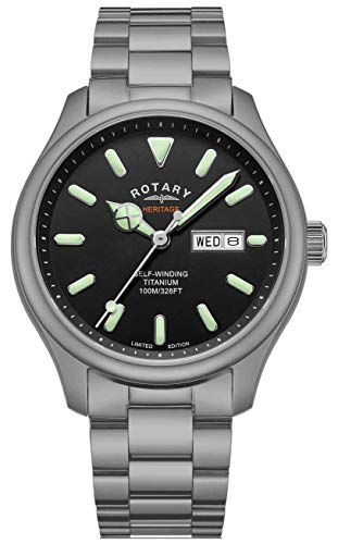 Rotary Henley für Herren | Titan Armband | schwarzes Zifferblatt | GB05249/04