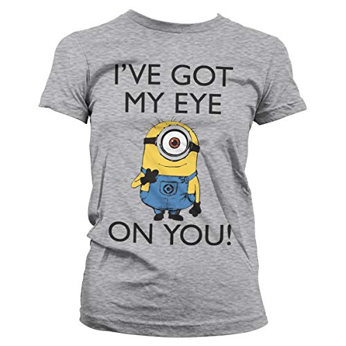 Minions Licenciado Oficialmente I Got My Eye On You Mujer Camiseta (Gris Claro), XXL