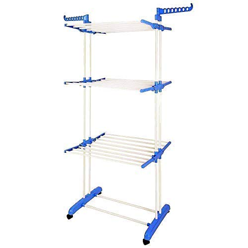 Product Image of the BonBon 3 Tier Clothes Drying Rack Folding Laundry Dryer Hanger Compact Storage Steel Indoor Outdoor (Blue/White)