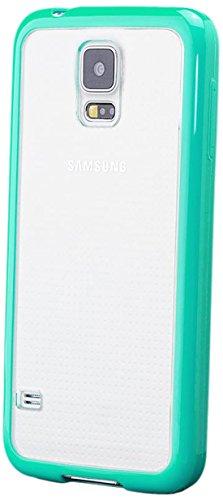 iCues Samsung Galaxy S5 NEO und S5 |  TPU Bumper mit Klare Rückseite Hülle Türkis | [Bildschirm Schutzfolie Inklusive] Transparent Klarsichthülle Durchsichtig Klare Klarsicht Silikon Gel Schutzhülle Hülle Cover Schutz