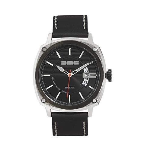 DMC DeLorean - Alpha Armbanduhr für Herren | DeLorean Motor Company | 44mm Edelstahlgehäuse mit schwarzer IP-Blende & Krone | 100m wasser- und kratzfest | Schwarzes Zifferblatt | Echtes Lederarmband