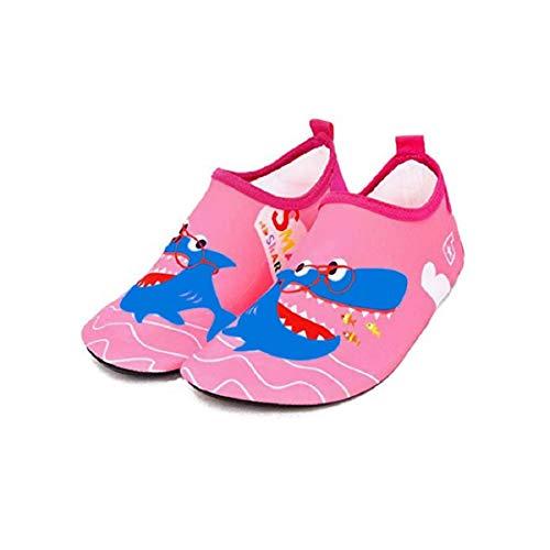 Bwiv Scarpette Mare Bimba Bambini Suole Antiscivolo Scarpe da Spiaggia e Piscina Asciugatura Veloce Ragazzi Ragazze Scarpe da Acqua Immersione Scarpine EU 25-26 Rosa