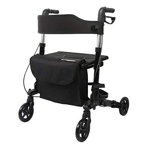 アシストウオーカー 室内室外兼用歩行車 車椅子 ショッピングカー 歩行補助用品 抑速ブレーキ機能付 アルミ合金製 折り畳み可 抑速 駐車ブレーキ機能付き (ブラック)