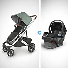 UPPAbaby Cruz V2 Stroller - Emmett (Green Melange/Silver/Saddle Leather) + Mesa Infant Car Seat - Jake (Black)