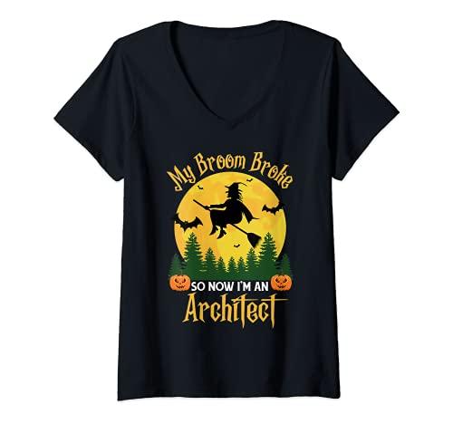 Mujer Mi escoba rompi as que ahora soy un arquitecto - Funny Halloween Camiseta Cuello V
